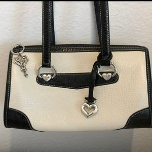Brighton White with Black Trim Leather Purse